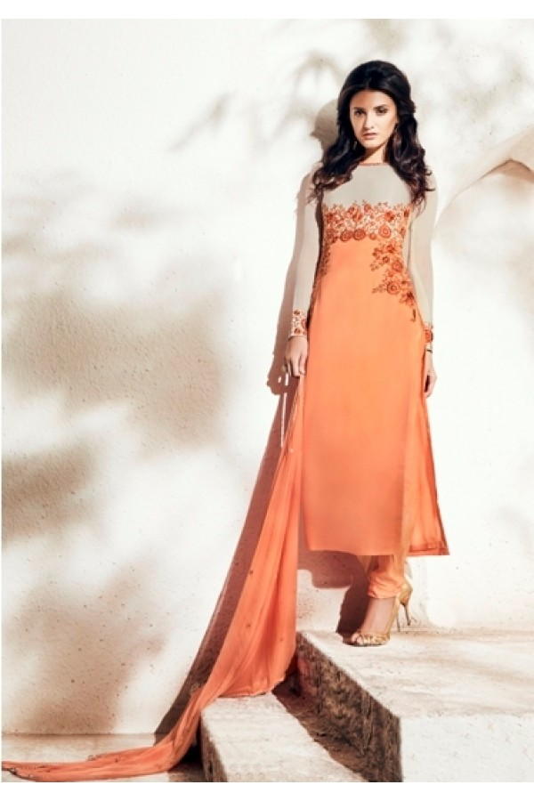 Party Wear Bhagalpuri Yoke Orange Salwar Kameez - 1002-A