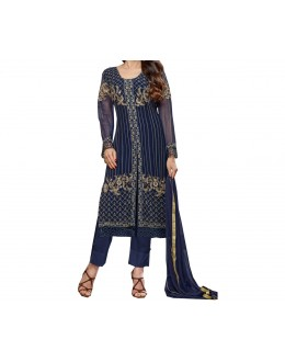 Party Wear Blue Georgette Salwar Suit - EF092