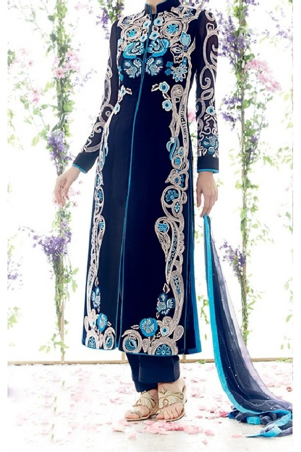 Party Wear Blue Georgette Salwar Suit - EF111