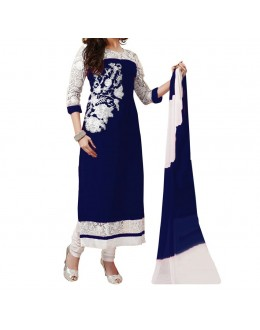 Party Wear Blue Georgette Salwar Suit - EF115