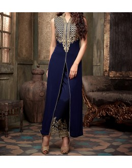 Party Wear Blue Velvet Salwar Suit - EF109