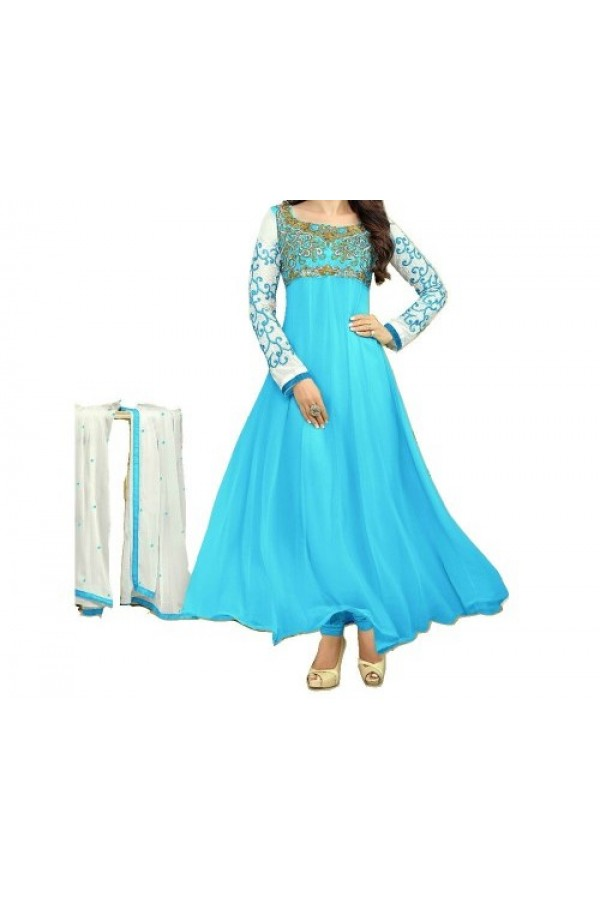 Party Wear Firozi Georgette Salwar Suit - EF095