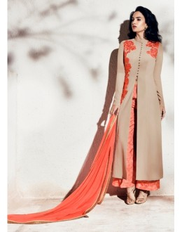 Party Wear Georgette Beige Palazzo Suit - 1004-B