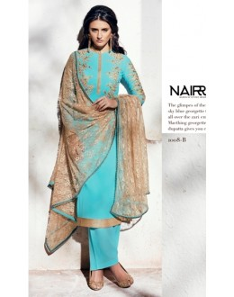 Party Wear Georgette Blue Palazzo Suit - 1008-B