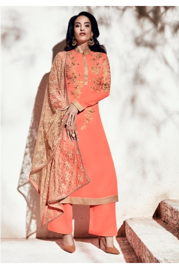 Party Wear Georgette Peach Palazzo Suit - 1008-A