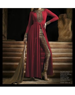 Party Wear Nikshi Red Georgette Salwar Suit - EF121