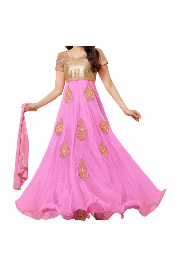 Party Wear Pink Net Salwar Suit - EF132