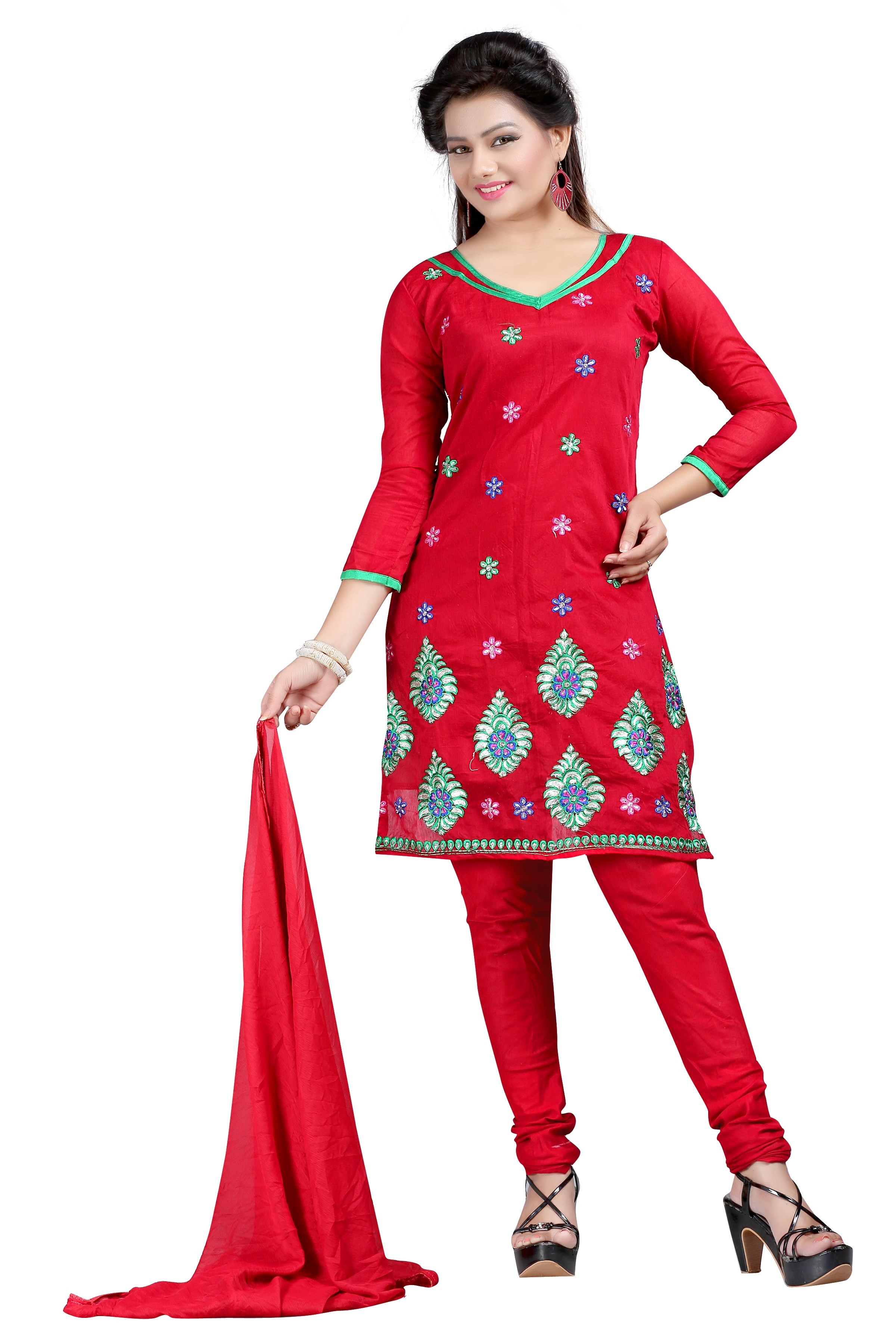 Party Wear Red Chanderi Salwar Suit - EF118