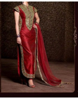 Party Wear Red Georgette Salwar Suit - EF114