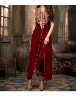 Party Wear Red Velvet Salwar Suit - EF110