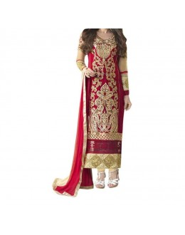 Party Wear RedGeorgette Salwar Suit - EF096