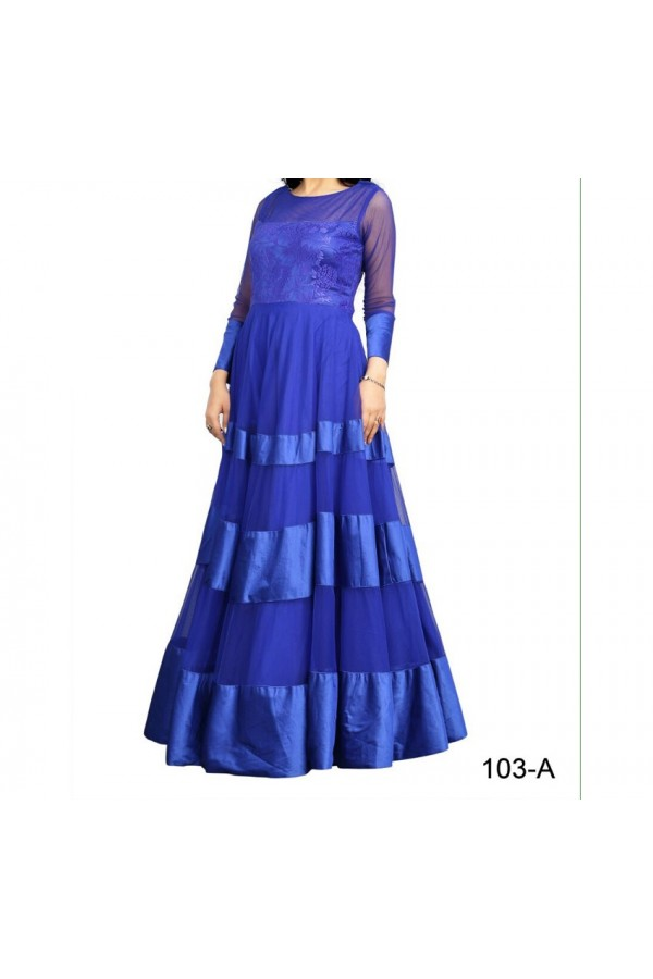 Party Wear Stylish Blue Georgette Salwar Suit - EF127