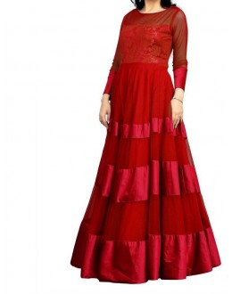 Party Wear Stylish Red Georgette Salwar Suit - EF128
