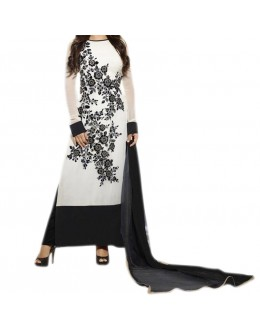 Party Wear White Georgette Salwar Suit - EF106