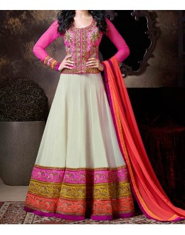 Party Wear White Georgette Salwar Suit - EF141
