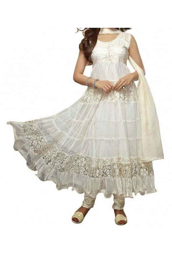Party Wear White Net Salwar Suit - EF087