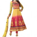 Party Wear Yellow Pink Georgette Salwar Suit - EF089