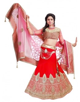 Designer Bridal Red Pure Velvet Heavy Zari Work Wedding Wear Lehenga Choli - 191 ( SS-Princes-194 )