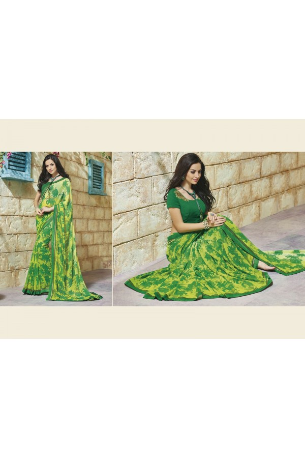 Designer Yellow Printed Soft Georgette Saree - 6537-A ( SS-Roma-6528 )