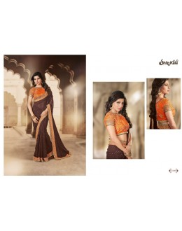 Designer Brown Zari Georgette Party Wear Saree - 1509 ( SS-Shilpkala-1501 )