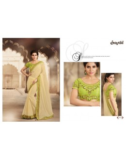 Designer Cream Embroidered Silk Chiffon Party Wear Saree - 1513 ( SS-Shilpkala-1501 )