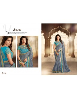 Designer Grey Zari Crepe Chiffon Party Wear Saree - 1510 ( SS-Shilpkala-1501 )