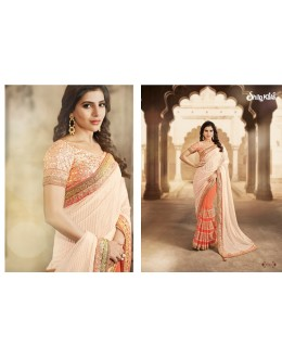 Designer Orange Brasso Net Party Wear Saree - 1516 ( SS-Shilpkala-1501 )