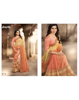 Designer Peach Embroidered Brasso Net Party Wear Saree - 1507 ( SS-Shilpkala-1501 )