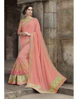 Ethnic Wear Chiffon Net Cream Saree - 2405