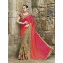 Party Wear Chiffon Beige Saree - 2401
