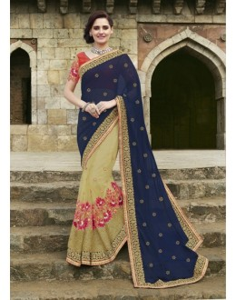Party Wear Chiffon Net Beige & Blue Saree - 2403