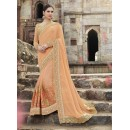 Party Wear Georgette Cream Saree - 2414