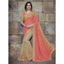 Party Wear Georgette Net Beige Saree - 2410