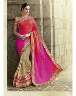 Party Wear Satan Beige Saree - 2409