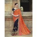 Wedding Wear Georgette Blue & Orange Saree - 2411