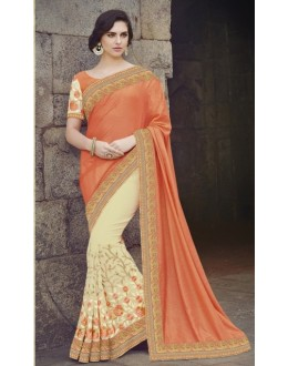 Wedding Wear Georgette Yellow & Orange Saree - 2412