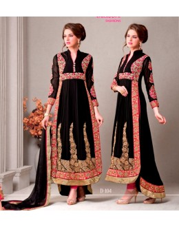 Party Wear Georgette Black Anarkali Suit - D-104