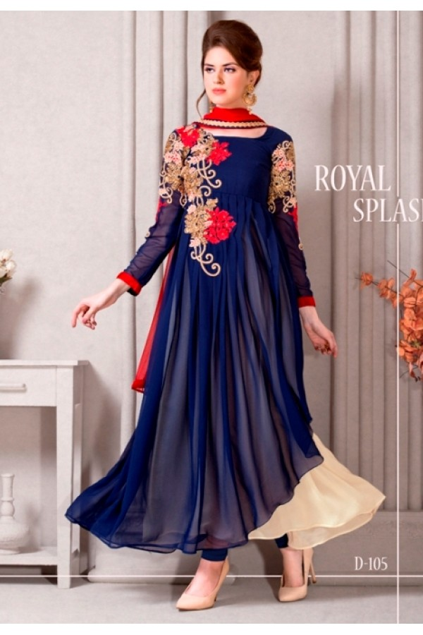 Party Wear Georgette Blue Anarkali Suit - D-105