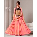 Party Wear Georgette Peach & Pink Anarkali Suit - D-103