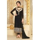 Designer Brasso Georgette Embroidered Party Wear Black Salwar Suit - 3709 ( SS-Vipul-3701 )