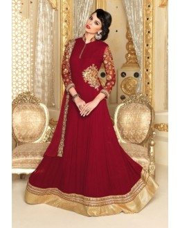 Designer Georgette Embroidered Party Wear Maroon Anarkali Suit - 3706 ( SS-Vipul-3701 )