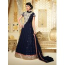Designer Georgette Embroidered Party Wear Navy Blue Anarkali Suit - 3701 ( SS-Vipul-3701 )