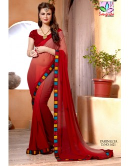 Party Wear Dark Red Saree  - SANGEETA-1621
