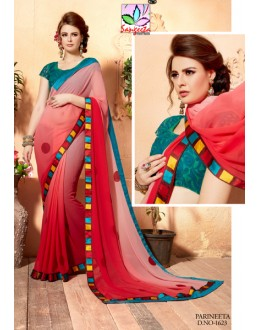 Ethnic Wear Red Saree  - SANGEETA-1623