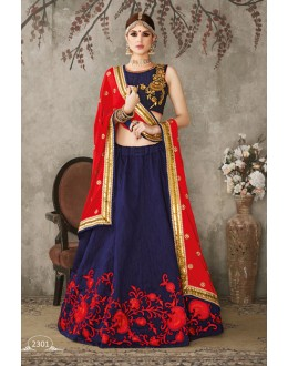 Festival Wear Blue & Red Lehenga Choli - SASYA-2301