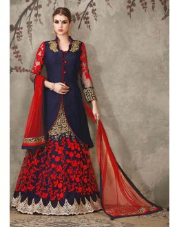 Party Wear Blue & Red Lehenga Suit  - SASYA-2306