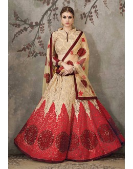 Festival Wear Beige & Red Lehenga Choli - SASYA-2309