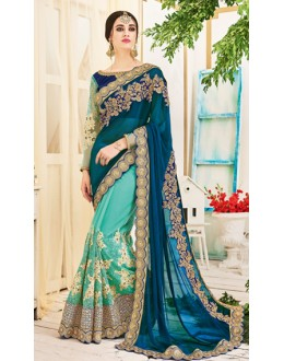 Wedding Wear Multicolour Chiffon Saree  - 2503