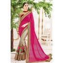 Party Wear Pink & Grey Chiffon Saree  - 2509