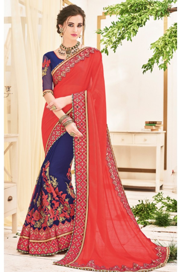 Ethinc Wear Red & Blue Chiffon Embroidery Saree  - 2512